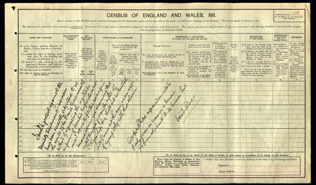 1911-Victor & Isabella Prout census RG14-7386 s.13a original