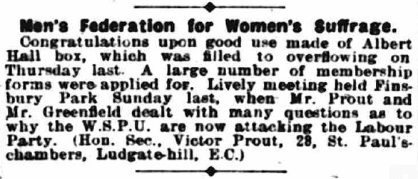 Men's Federation for Women's Suffrage The Suffragette 25 October 1912 page 27 column c