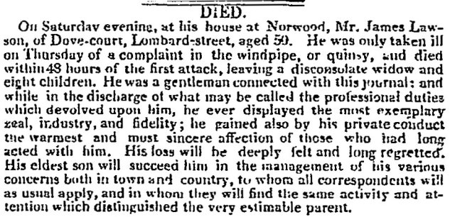 1817-Times Obituary of James Lawson - 8 December 1817 p.3 col.e