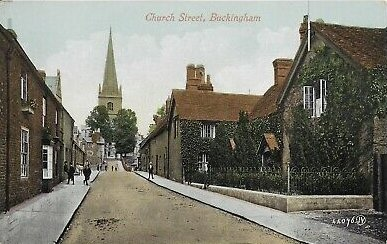 Rare-Early-Vintage-PostcardChurch-StreetBuckinghamBuckinhamshire