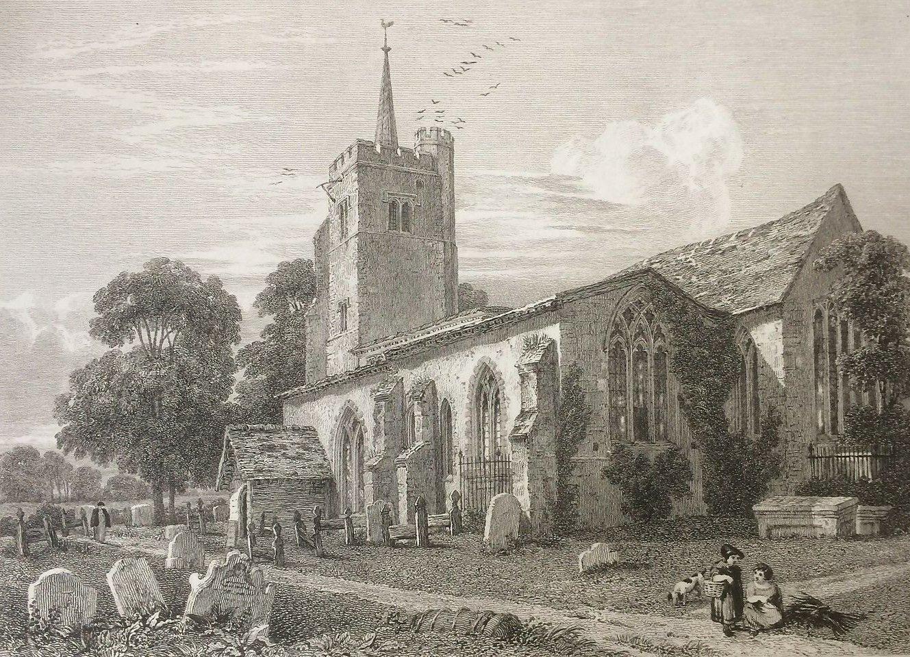 1815 Antique Print Aldenham Church near Watford from Clutterbuck's History Herts
