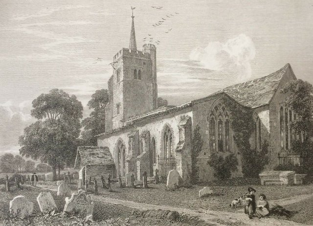 1815 Antique Print Aldenham Church near Watford from Clutterbuck's History Herts