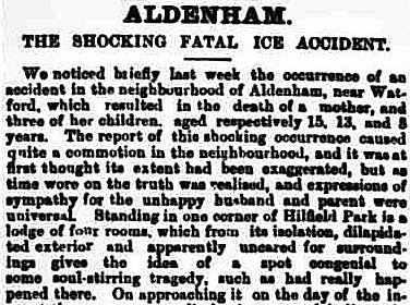 1880-Aldenham The Shocking Fatal Ice Accident Uxbridge & West Drayton Gazette - BL Newspapers 14 February 1880 p.7 col.c_edited