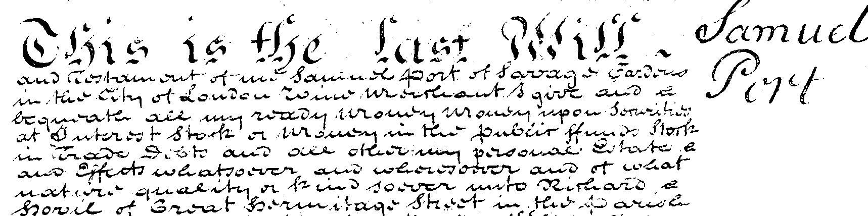 Will of Samuel Port