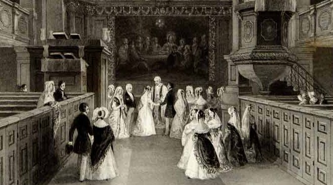 St Georges Church Hanover Square detail from print dated A fashionable wedding at St George's Hanover Square